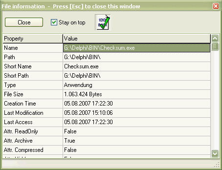 Screenshot of the file information dialog
