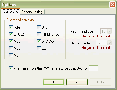 Screenshot of the programm options dialog